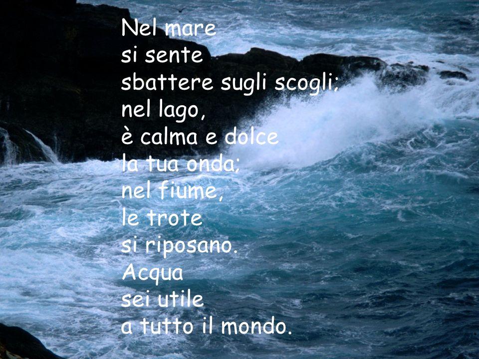 Nel mare si sente sbattere sugli scogli; nel lago, è calma e dolce la tua onda; nel fiume, le trote si riposano.