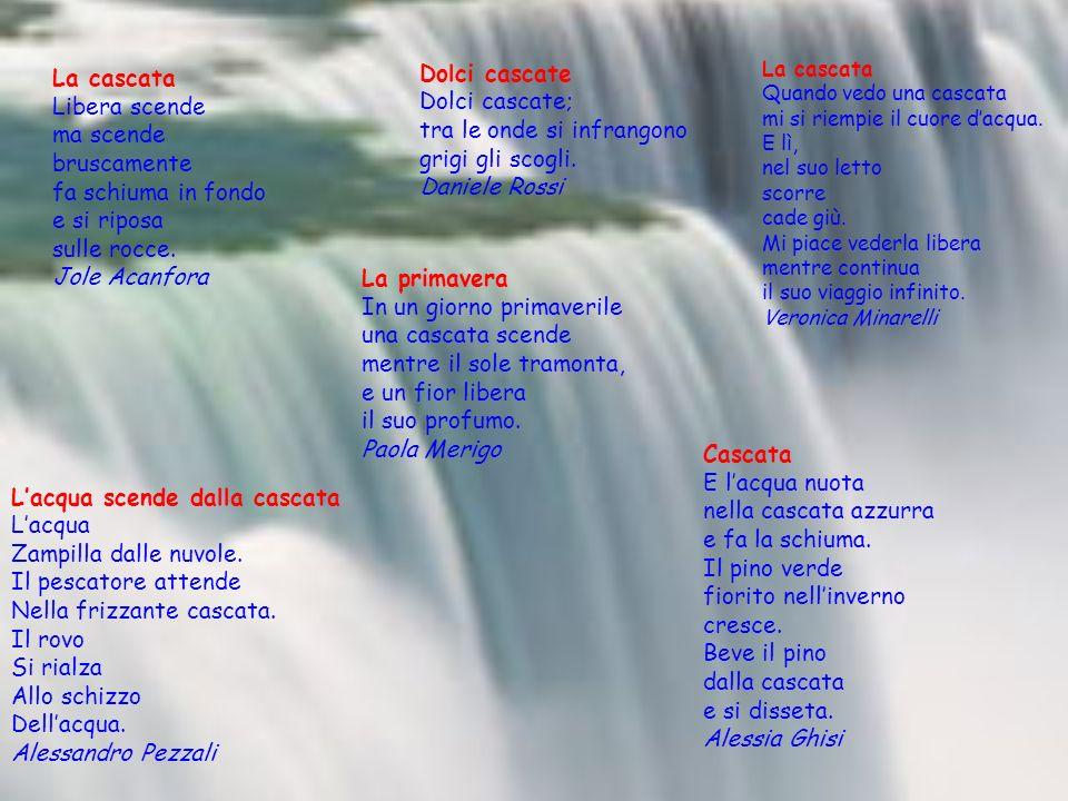 Lacqua scende dalla cascata Lacqua Zampilla dalle nuvole. Il pescatore attende Nella frizzante cascata. Il rovo Si rialza Allo schizzo Dellacqua. Ales