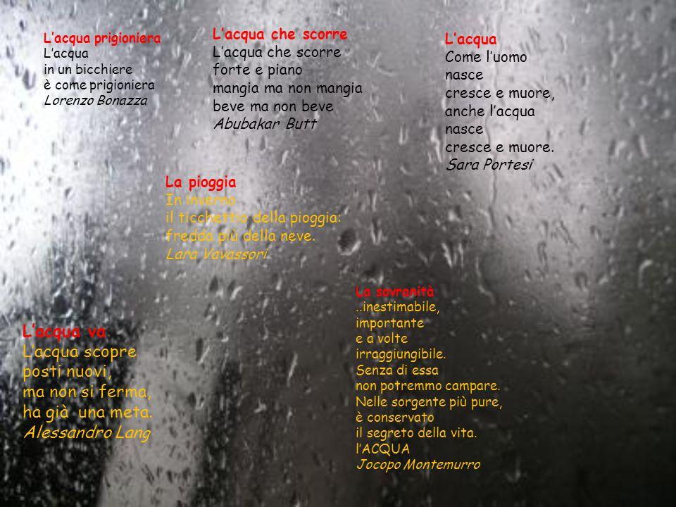 Lacqua prigioniera Lacqua in un bicchiere è come prigioniera Lorenzo Bonazza La pioggia In inverno il ticchettio della pioggia: fredda più della neve.