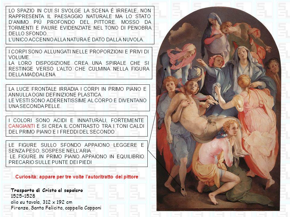 La visitazione 1528-1529 Olio su tela, 202 x 156 cm Carmignano (Prato), Chiesa di San Michele LO SPAZIO IN CUI AVVIENE LINCONTRO È DEFINITO DA ALCUNE SEMPLICI ARCHITETTURE.