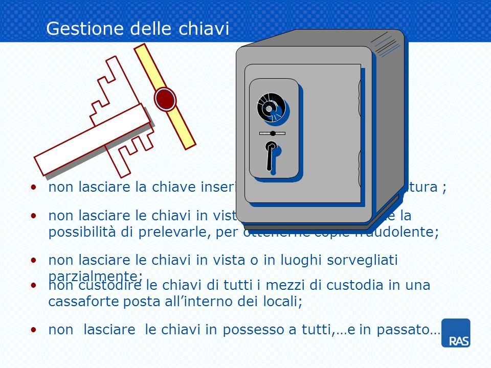 Gestione delle chiavi non lasciare la chiave inserita nella toppa della serratura ; 412320 non lasciare le chiavi in vista o in posti dove esiste la p