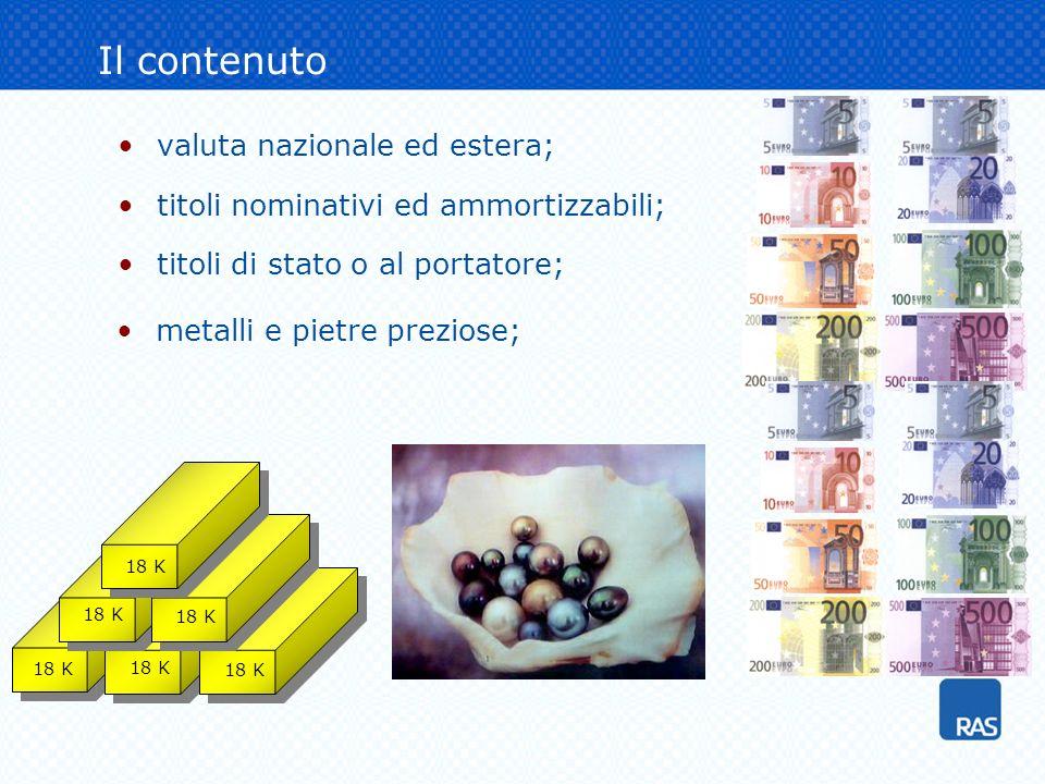 valuta nazionale ed estera; titoli nominativi ed ammortizzabili; titoli di stato o al portatore; Il contenuto 18 K metalli e pietre preziose;