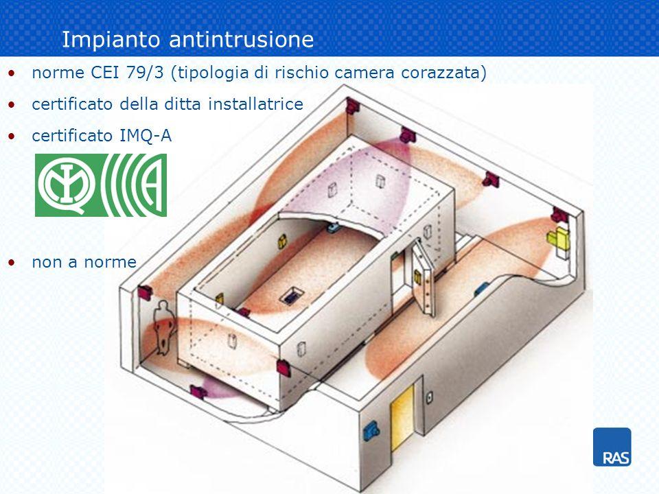 Impianto antintrusione norme CEI 79/3 (tipologia di rischio camera corazzata) certificato della ditta installatrice certificato IMQ-A non a norme