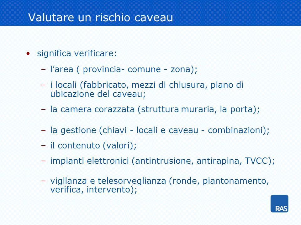 Valutare un rischio caveau significa verificare: –larea ( provincia- comune - zona); –i locali (fabbricato, mezzi di chiusura, piano di ubicazione del