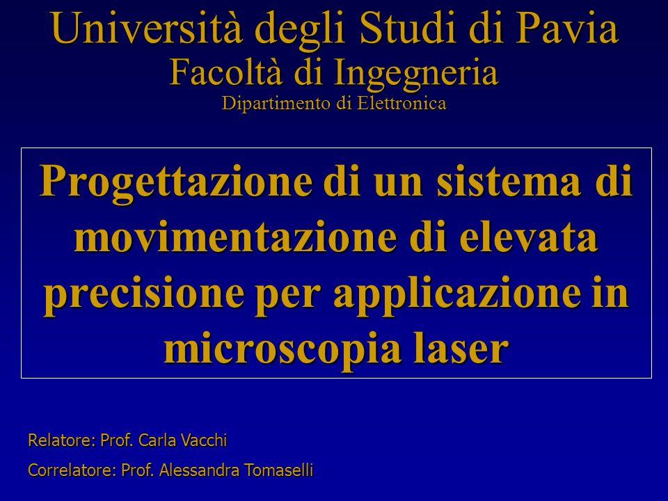 Università degli Studi di Pavia Facoltà di Ingegneria Dipartimento di Elettronica Progettazione di un sistema di movimentazione di elevata precisione per applicazione in microscopia laser Relatore: Prof.