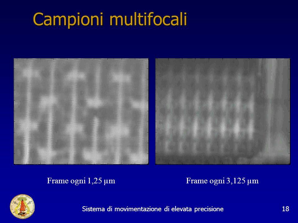Sistema di movimentazione di elevata precisione18 Campioni multifocali Frame ogni 1,25 µmFrame ogni 3,125 µm