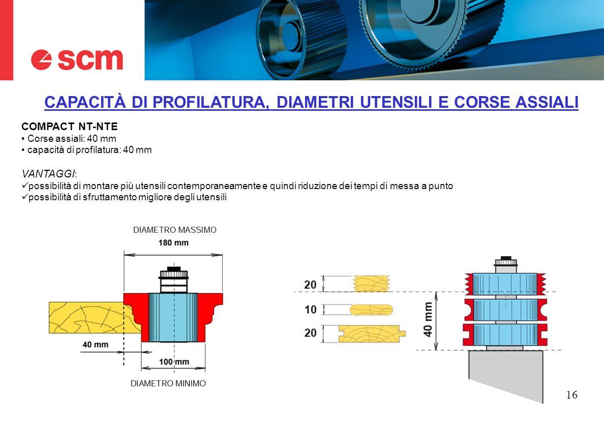 16 CAPACITÀ DI PROFILATURA, DIAMETRI UTENSILI E CORSE ASSIALI COMPACT NT-NTE Corse assiali: 40 mm capacità di profilatura: 40 mm VANTAGGI : possibilit