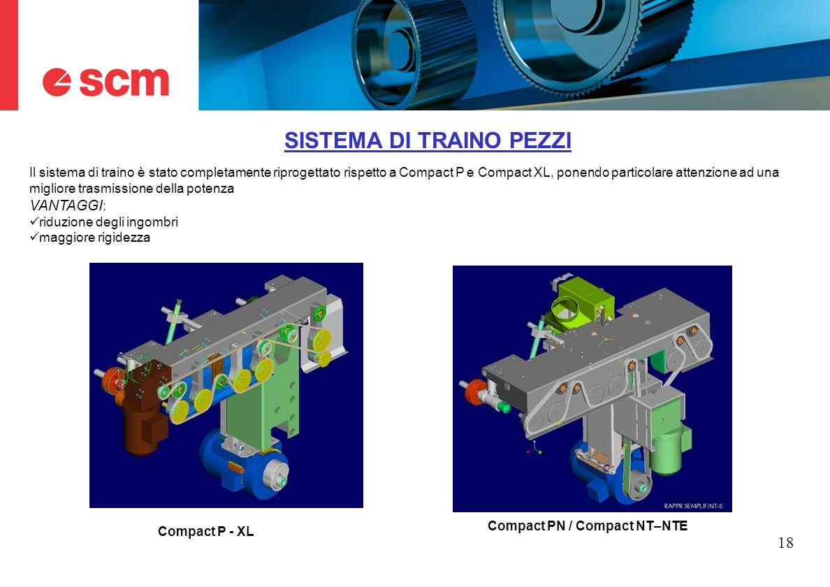 18 SISTEMA DI TRAINO PEZZI Il sistema di traino è stato completamente riprogettato rispetto a Compact P e Compact XL, ponendo particolare attenzione a