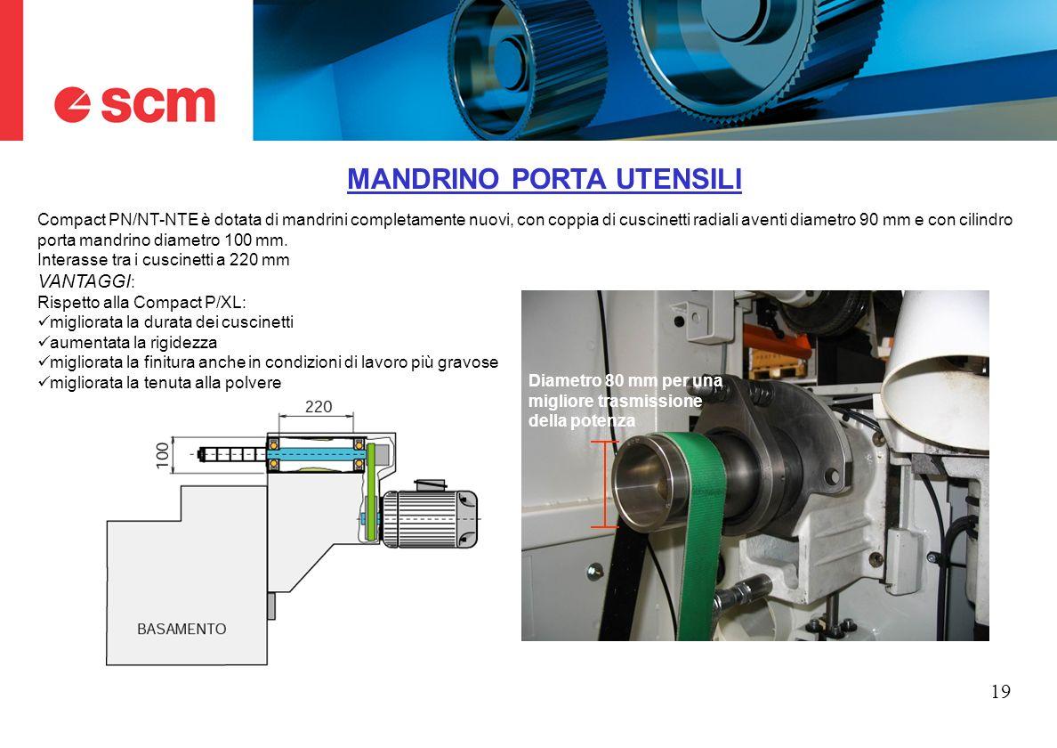 19 MANDRINO PORTA UTENSILI Compact PN/NT-NTE è dotata di mandrini completamente nuovi, con coppia di cuscinetti radiali aventi diametro 90 mm e con ci