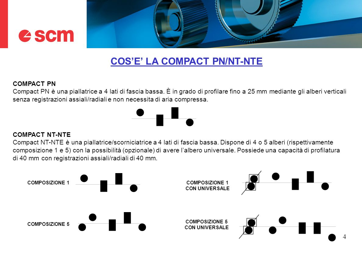 4 COSE LA COMPACT PN/NT-NTE COMPACT PN Compact PN è una piallatrice a 4 lati di fascia bassa. È in grado di profilare fino a 25 mm mediante gli alberi