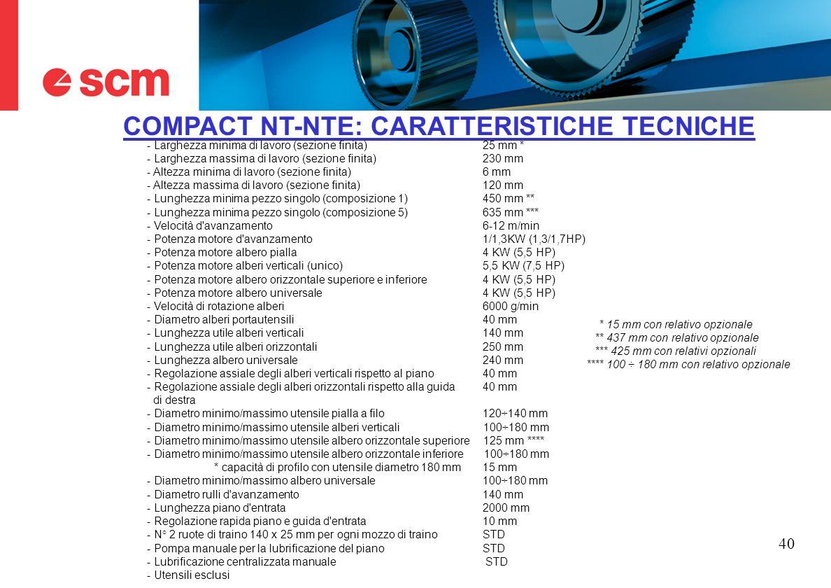 40 COMPACT NT-NTE: CARATTERISTICHE TECNICHE - Larghezza minima di lavoro (sezione finita) 25 mm * - Larghezza massima di lavoro (sezione finita) 230 m