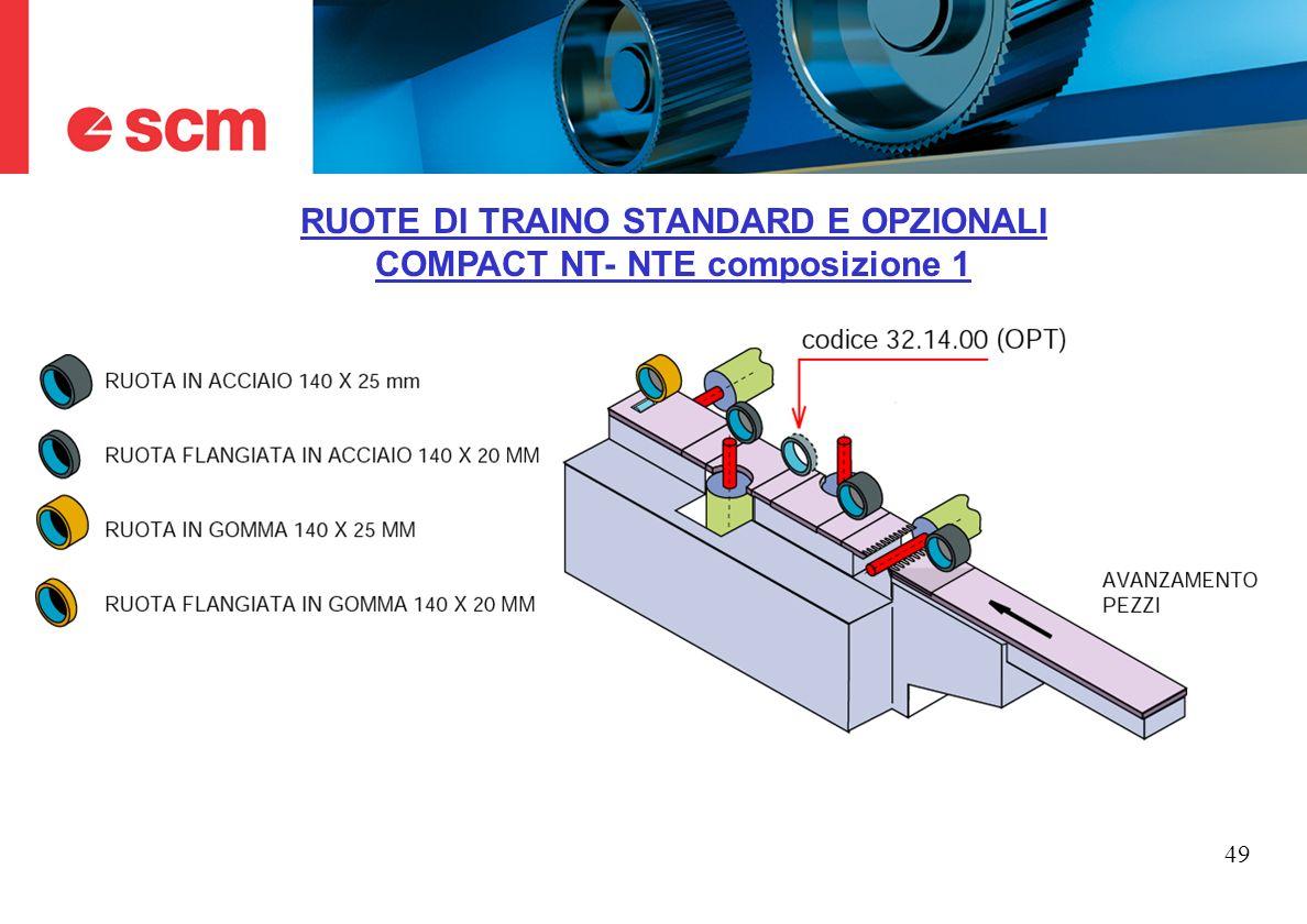 49 RUOTE DI TRAINO STANDARD E OPZIONALI COMPACT NT- NTE composizione 1