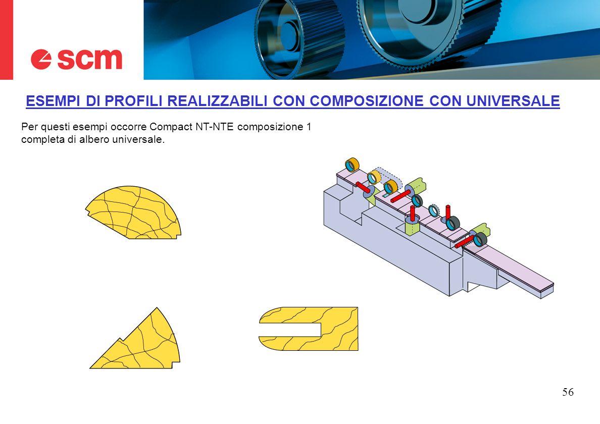 56 ESEMPI DI PROFILI REALIZZABILI CON COMPOSIZIONE CON UNIVERSALE Per questi esempi occorre Compact NT-NTE composizione 1 completa di albero universal