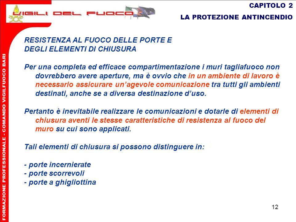 12 CAPITOLO 2 LA PROTEZIONE ANTINCENDIO RESISTENZA AL FUOCO DELLE PORTE E DEGLI ELEMENTI DI CHIUSURA Per una completa ed efficace compartimentazione i
