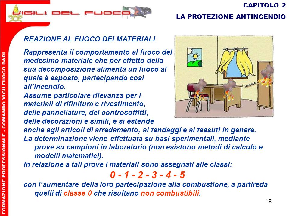 18 CAPITOLO 2 LA PROTEZIONE ANTINCENDIO REAZIONE AL FUOCO DEI MATERIALI Rappresenta il comportamento al fuoco del medesimo materiale che per effetto d