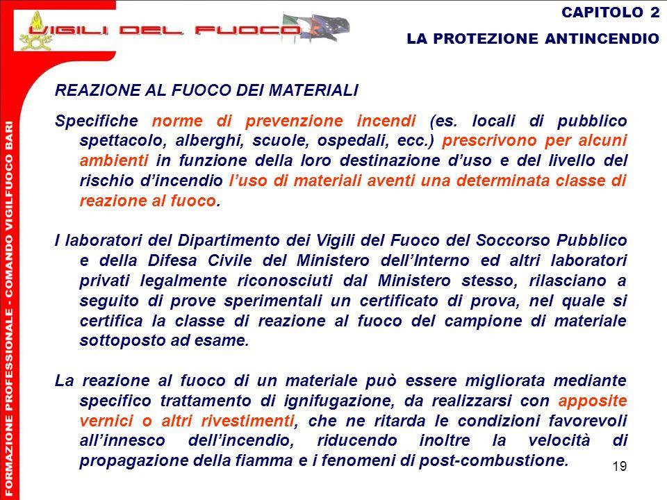 19 CAPITOLO 2 LA PROTEZIONE ANTINCENDIO REAZIONE AL FUOCO DEI MATERIALI Specifiche norme di prevenzione incendi (es. locali di pubblico spettacolo, al