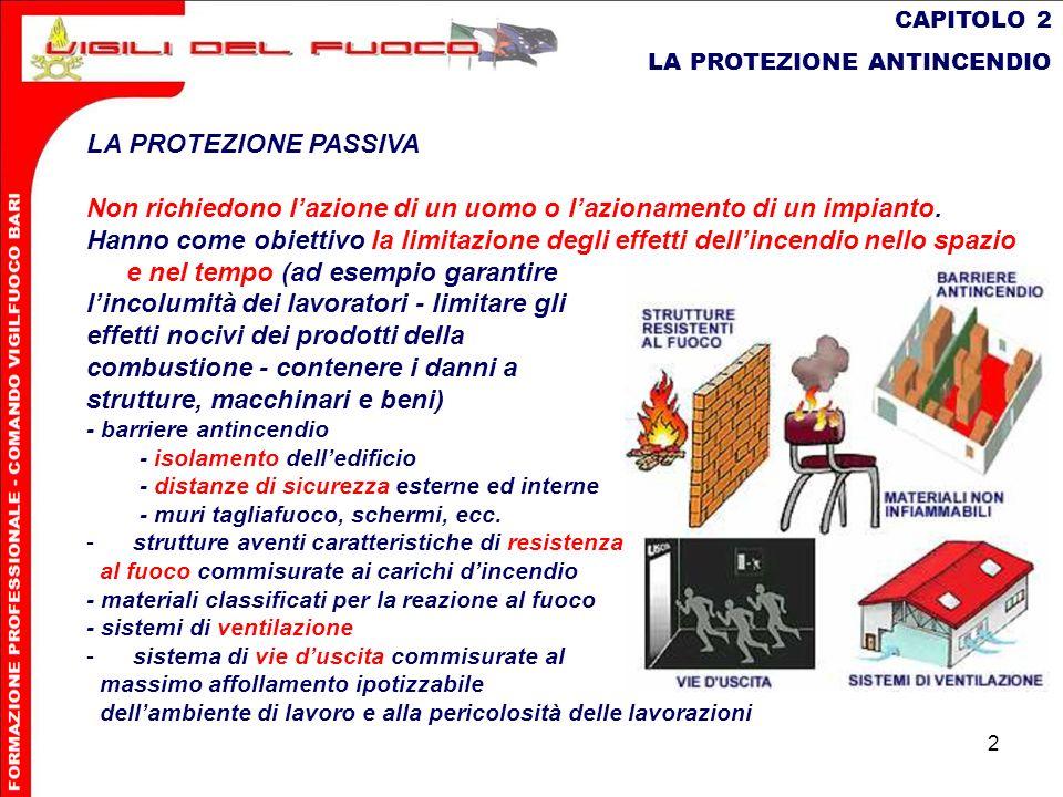 2 CAPITOLO 2 LA PROTEZIONE ANTINCENDIO LA PROTEZIONE PASSIVA Non richiedono lazione di un uomo o lazionamento di un impianto. Hanno come obiettivo la
