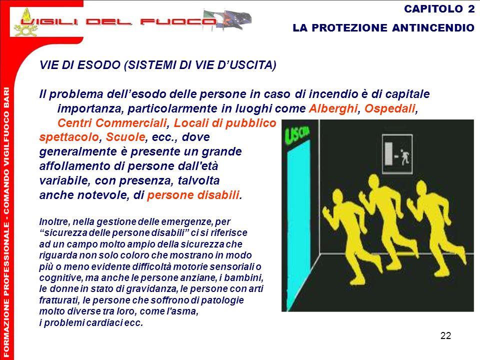 22 CAPITOLO 2 LA PROTEZIONE ANTINCENDIO VIE DI ESODO (SISTEMI DI VIE DUSCITA) Il problema dellesodo delle persone in caso di incendio è di capitale im