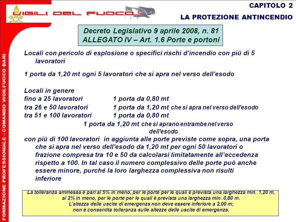 24 CAPITOLO 2 LA PROTEZIONE ANTINCENDIO Decreto Legislativo 9 aprile 2008, n. 81 ALLEGATO IV – Art. 1.6 Porte e portoni Locali con pericolo di esplosi