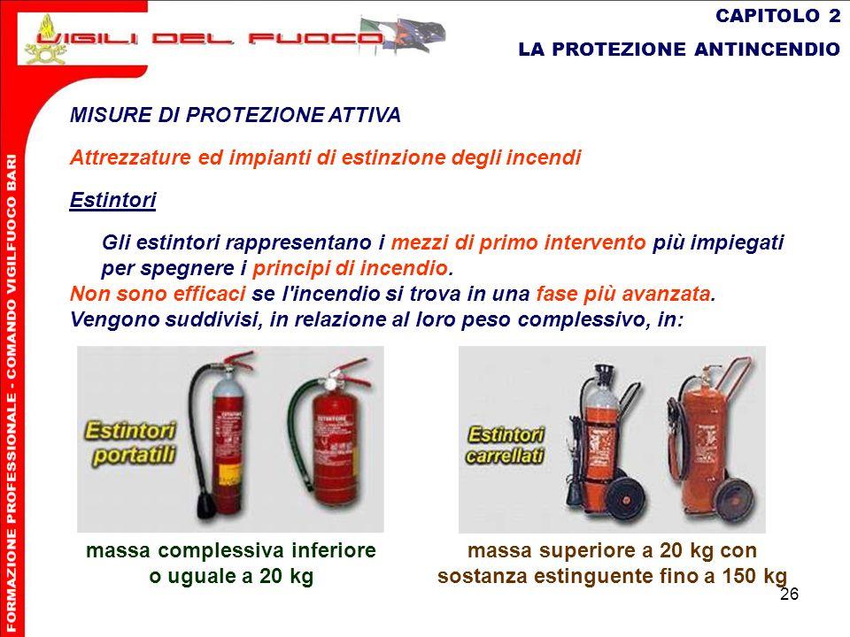 26 CAPITOLO 2 LA PROTEZIONE ANTINCENDIO MISURE DI PROTEZIONE ATTIVA Attrezzature ed impianti di estinzione degli incendi Estintori Gli estintori rappr