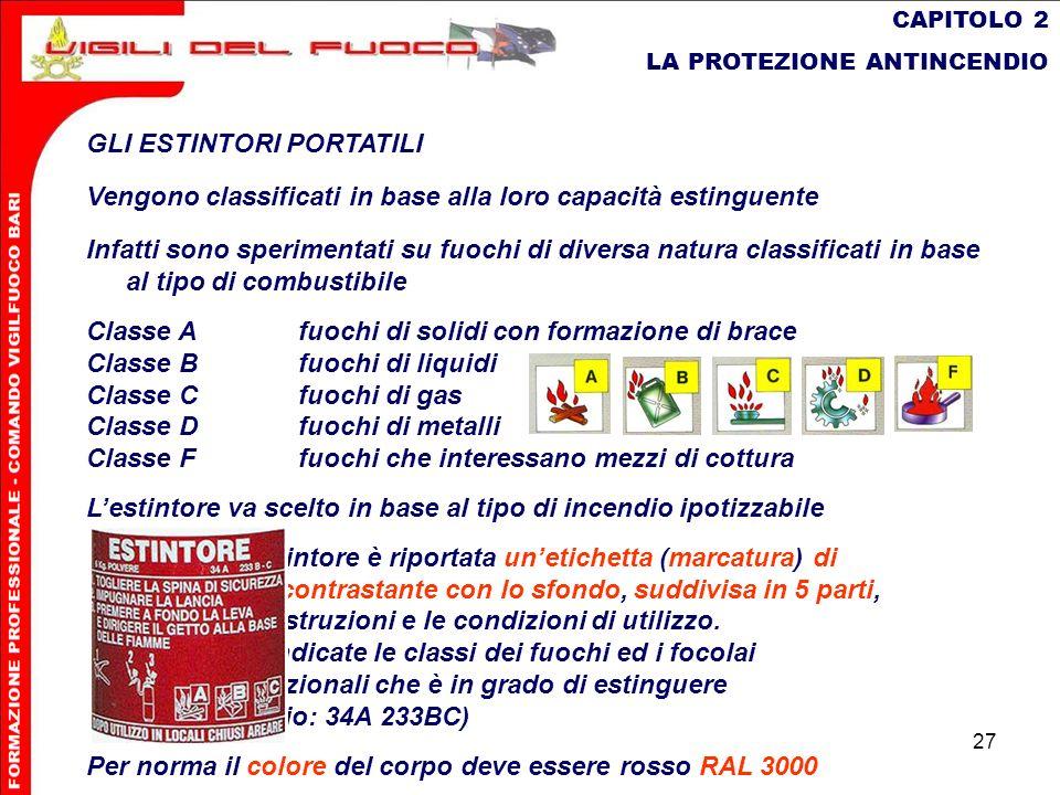 27 CAPITOLO 2 LA PROTEZIONE ANTINCENDIO GLI ESTINTORI PORTATILI Vengono classificati in base alla loro capacità estinguente Infatti sono sperimentati