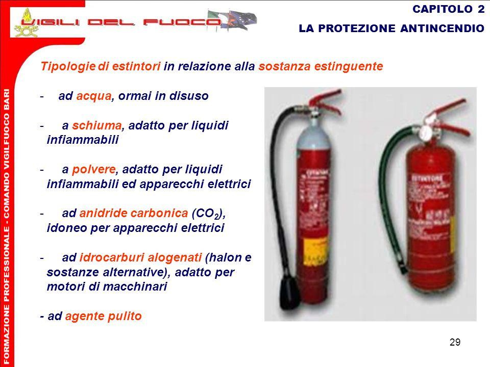 29 CAPITOLO 2 LA PROTEZIONE ANTINCENDIO Tipologie di estintori in relazione alla sostanza estinguente -ad acqua, ormai in disuso - a schiuma, adatto p