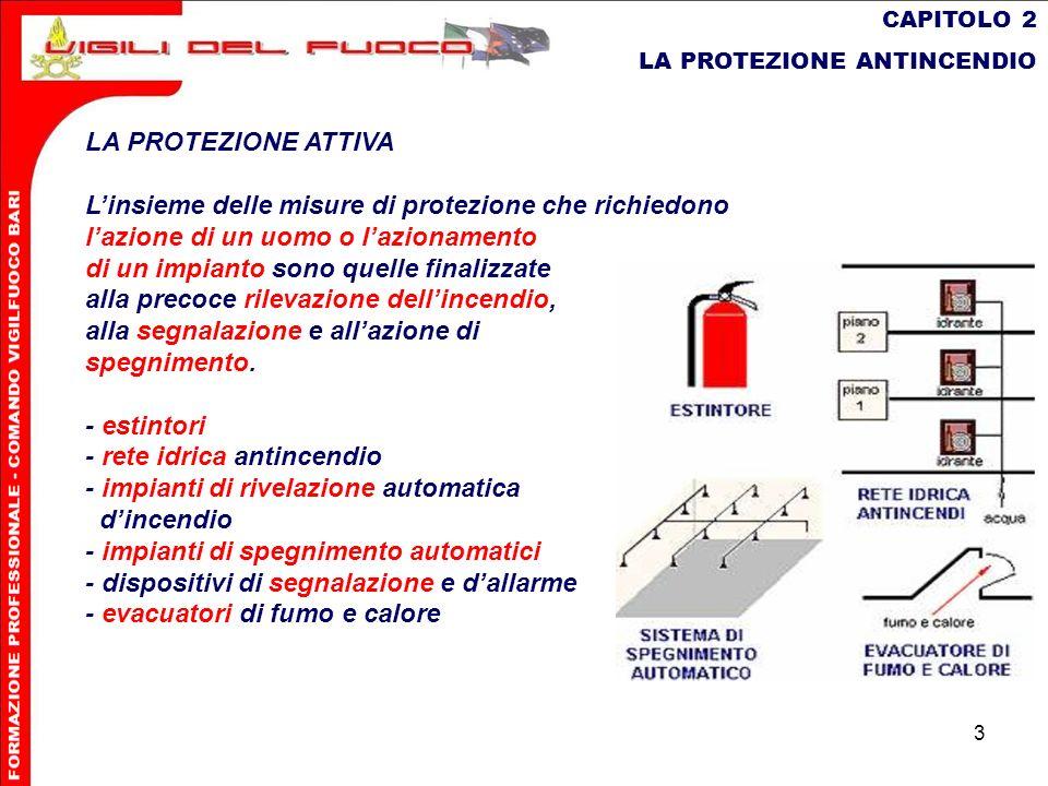 3 CAPITOLO 2 LA PROTEZIONE ANTINCENDIO LA PROTEZIONE ATTIVA Linsieme delle misure di protezione che richiedono lazionedi un uomo o lazionamento di un