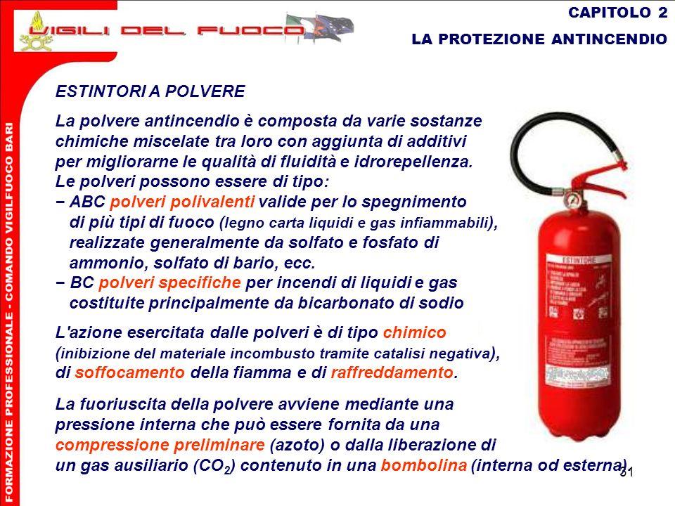 31 CAPITOLO 2 LA PROTEZIONE ANTINCENDIO ESTINTORI A POLVERE La polvere antincendio è composta da varie sostanze chimiche miscelate tra loro con aggiun