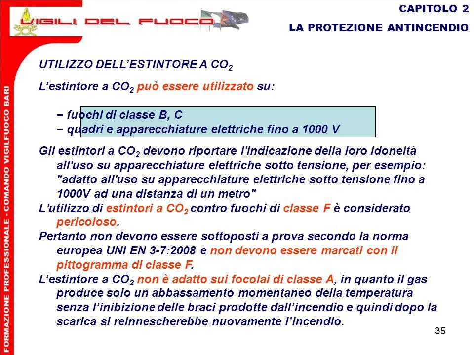 35 CAPITOLO 2 LA PROTEZIONE ANTINCENDIO UTILIZZO DELLESTINTORE A CO 2 Lestintore a CO 2 può essere utilizzato su: fuochi di classe B, C quadri e appar