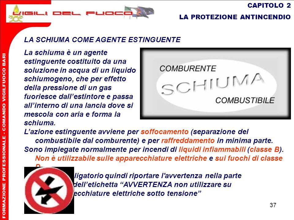 37 CAPITOLO 2 LA PROTEZIONE ANTINCENDIO LA SCHIUMA COME AGENTE ESTINGUENTE La schiuma è un agente estinguente costituito da una soluzione in acqua di