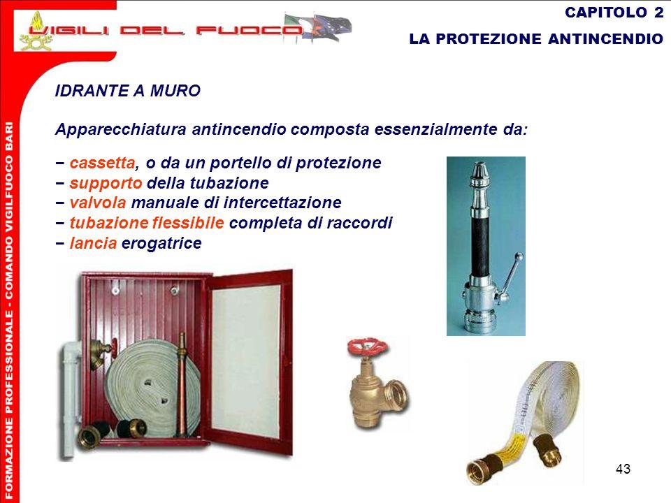 43 CAPITOLO 2 LA PROTEZIONE ANTINCENDIO IDRANTE A MURO Apparecchiatura antincendio composta essenzialmente da: cassetta, o da un portello di protezion