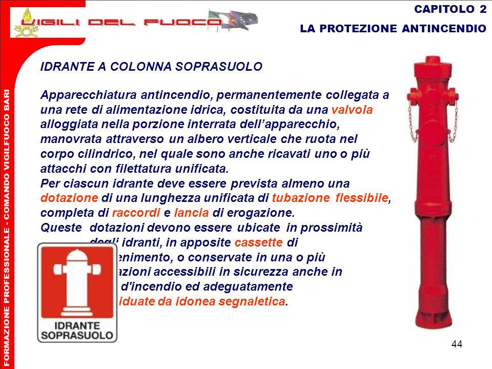 44 CAPITOLO 2 LA PROTEZIONE ANTINCENDIO IDRANTE A COLONNA SOPRASUOLO Apparecchiatura antincendio, permanentemente collegata a una rete di alimentazion