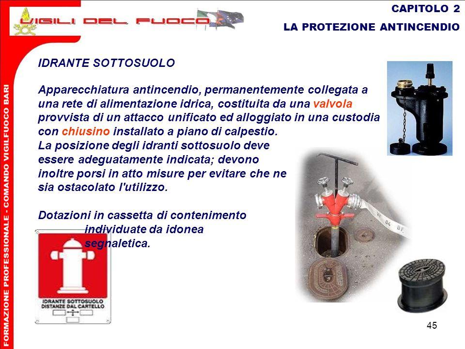 45 CAPITOLO 2 LA PROTEZIONE ANTINCENDIO IDRANTE SOTTOSUOLO Apparecchiatura antincendio, permanentemente collegata a una rete di alimentazione idrica,