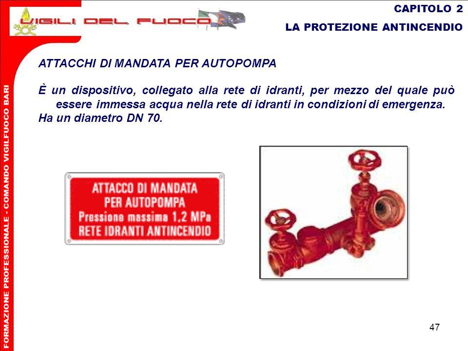 47 CAPITOLO 2 LA PROTEZIONE ANTINCENDIO ATTACCHI DI MANDATA PER AUTOPOMPA È un dispositivo, collegato alla rete di idranti, per mezzo del quale può es