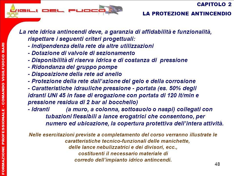 48 CAPITOLO 2 LA PROTEZIONE ANTINCENDIO La rete idrica antincendi deve, a garanzia di affidabilità e funzionalità, rispettare i seguenti criteri proge