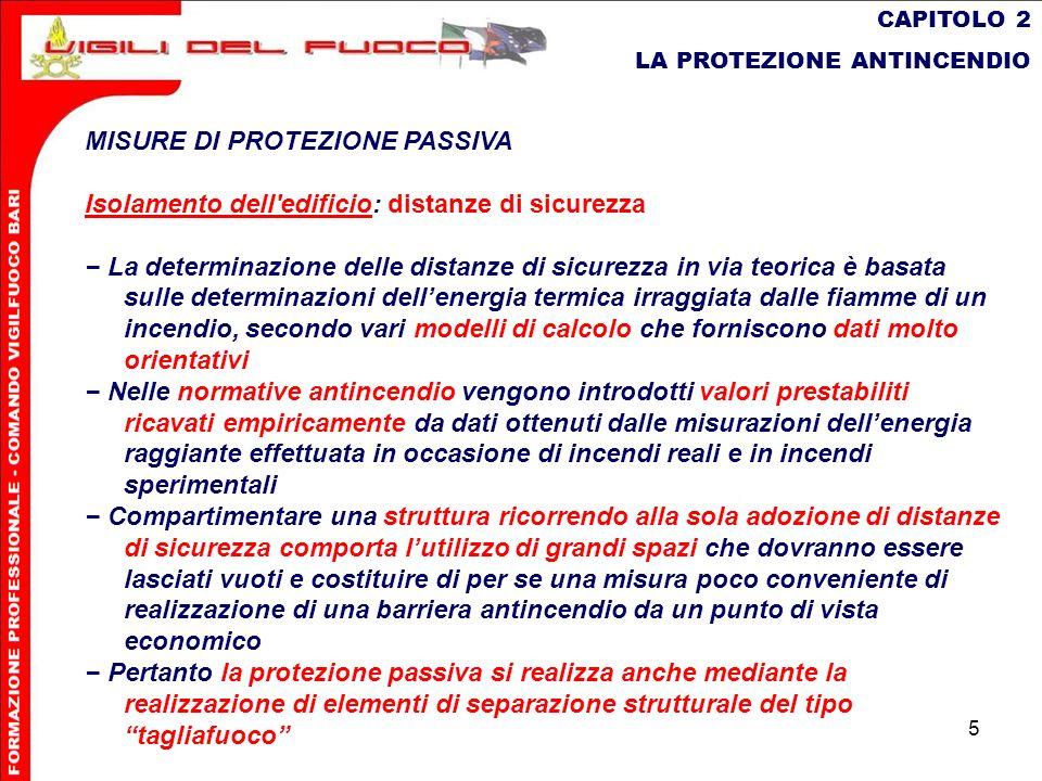 5 CAPITOLO 2 LA PROTEZIONE ANTINCENDIO MISURE DI PROTEZIONE PASSIVA Isolamento dell'edificio: distanze di sicurezza La determinazione delle distanze d
