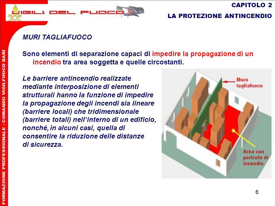 6 CAPITOLO 2 LA PROTEZIONE ANTINCENDIO MURI TAGLIAFUOCO Sono elementi di separazione capaci di impedire la propagazione di un incendio tra area sogget