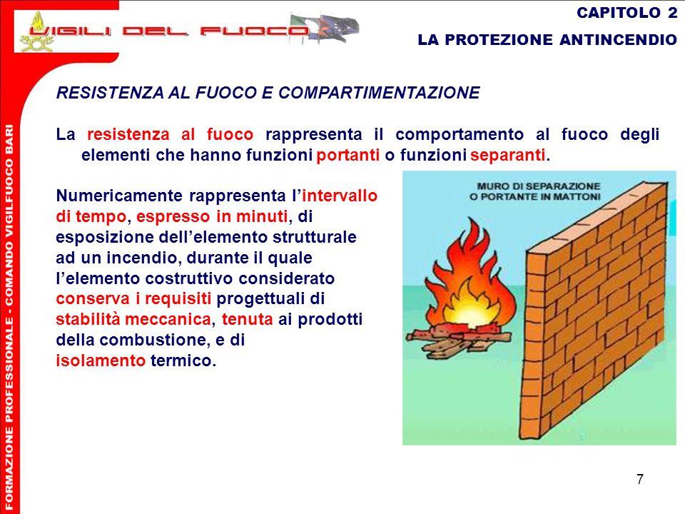 7 CAPITOLO 2 LA PROTEZIONE ANTINCENDIO RESISTENZA AL FUOCO E COMPARTIMENTAZIONE La resistenza al fuoco rappresenta il comportamento al fuoco degli ele