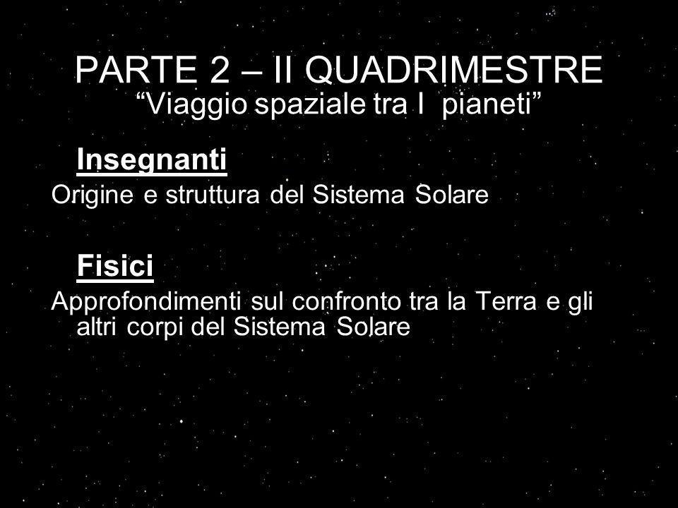 PARTE 2 – II QUADRIMESTRE Viaggio spaziale tra I pianeti Insegnanti Origine e struttura del Sistema Solare Fisici Approfondimenti sul confronto tra la Terra e gli altri corpi del Sistema Solare