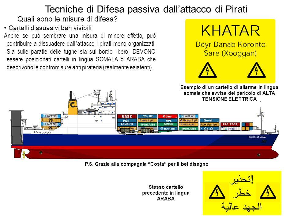 Cartelli dissuasivi ben visibili Anche se può sembrare una misura di minore effetto, può contribuire a dissuadere dall attacco i pirati meno organizza