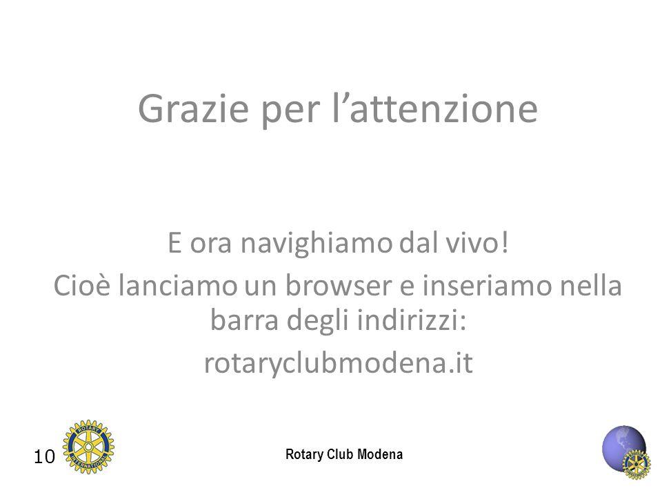 10 Rotary Club Modena Grazie per lattenzione E ora navighiamo dal vivo.
