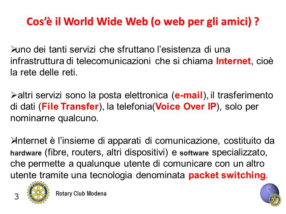 3 Rotary Club Modena Cosè il World Wide Web (o web per gli amici) .