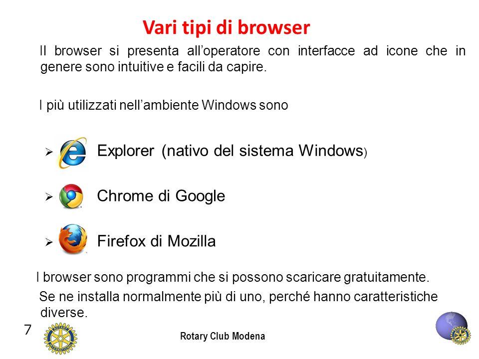 7 Rotary Club Modena Vari tipi di browser Il browser si presenta alloperatore con interfacce ad icone che in genere sono intuitive e facili da capire.