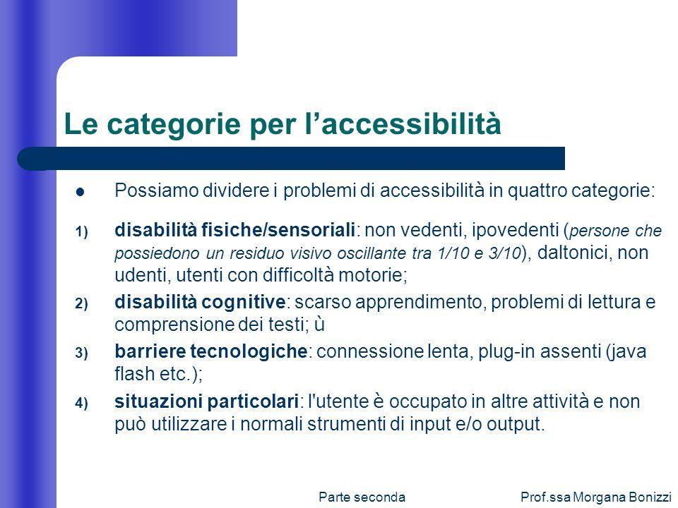 Parte secondaProf.ssa Morgana Bonizzi Possiamo dividere i problemi di accessibilit à in quattro categorie: 1) disabilità fisiche/sensoriali: non veden