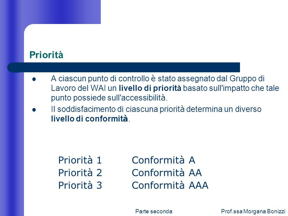 Parte secondaProf.ssa Morgana Bonizzi Priorità A ciascun punto di controllo è stato assegnato dal Gruppo di Lavoro del WAI un livello di priorità basa