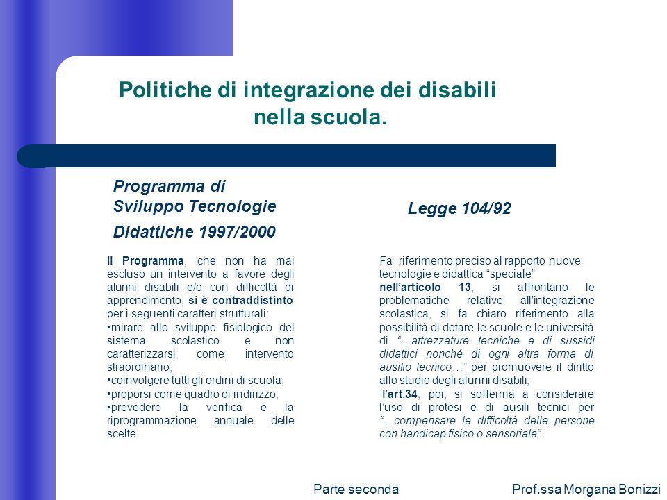 Parte secondaProf.ssa Morgana Bonizzi Politiche di integrazione dei disabili nella scuola. Programma di Sviluppo Tecnologie Didattiche 1997/2000 Legge