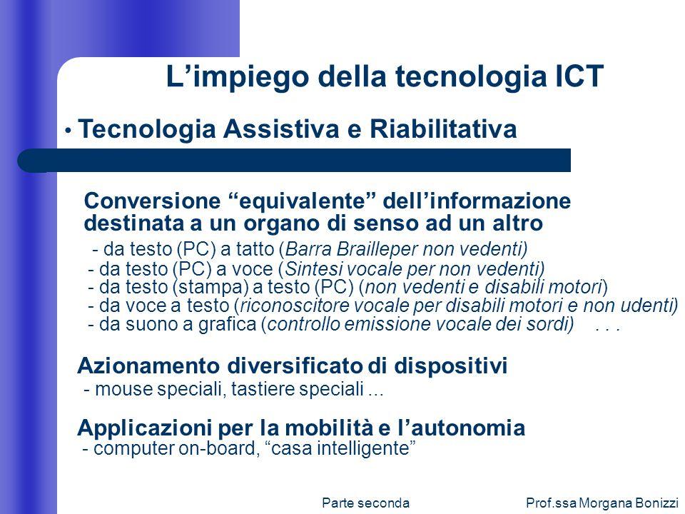 Parte secondaProf.ssa Morgana Bonizzi Limpiego della tecnologia ICT Conversione equivalente dellinformazione destinata a un organo di senso ad un altr