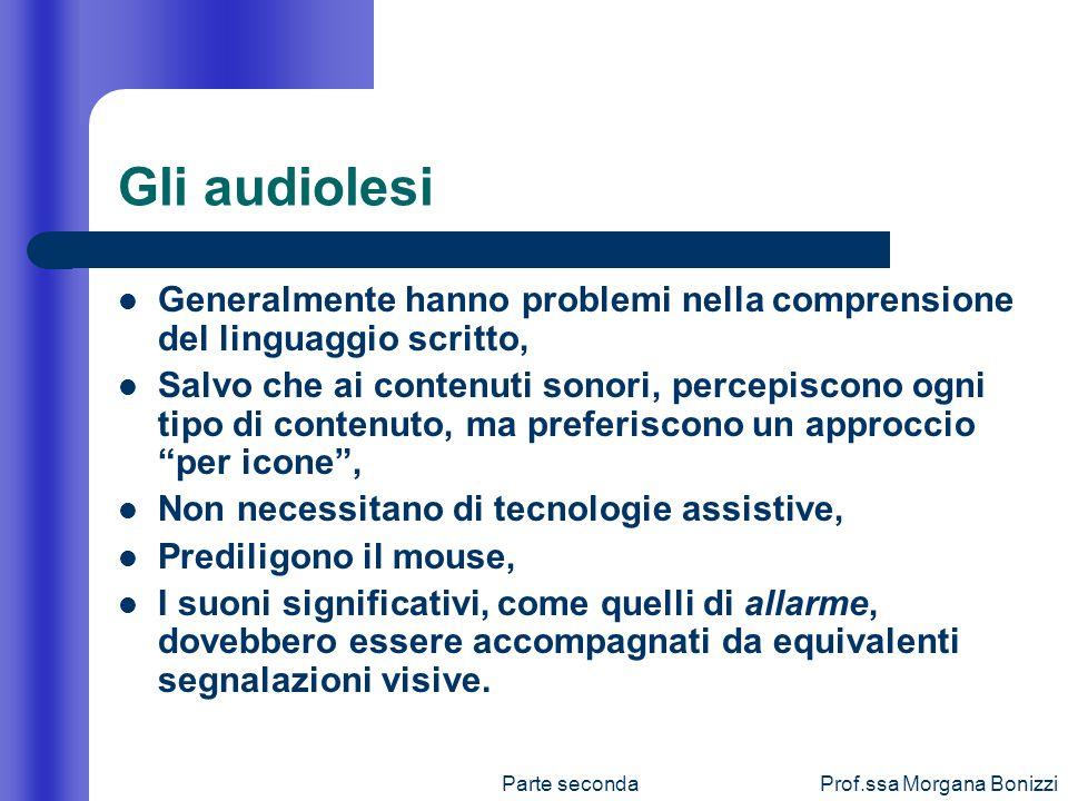Parte secondaProf.ssa Morgana Bonizzi Gli audiolesi Generalmente hanno problemi nella comprensione del linguaggio scritto, Salvo che ai contenuti sono