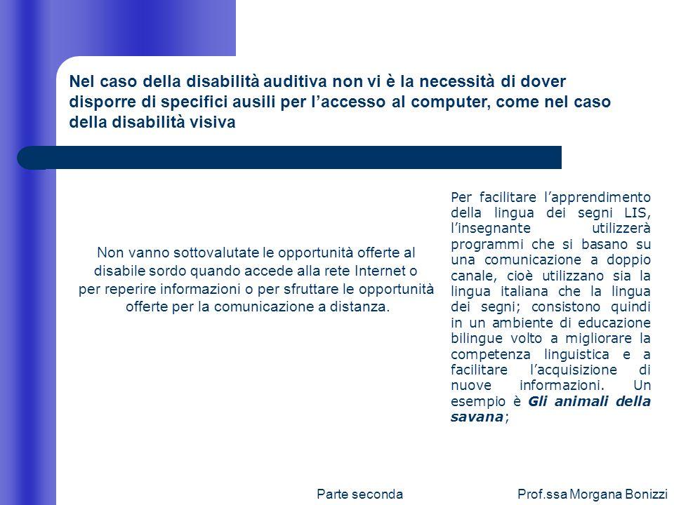 Parte secondaProf.ssa Morgana Bonizzi Nel caso della disabilità auditiva non vi è la necessità di dover disporre di specifici ausili per laccesso al c