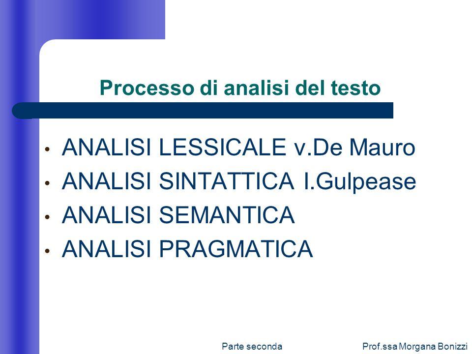Parte secondaProf.ssa Morgana Bonizzi Processo di analisi del testo ANALISI LESSICALE v.De Mauro ANALISI SINTATTICA I.Gulpease ANALISI SEMANTICA ANALI